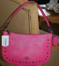 COACH 37711 Floral Rivets Leather Chelsea Crossbody Dahlia Pink NEW NWT $275