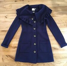 Anthropologie by HWR Hervlev Sweater Coat Navy 100% Wool Sweater, Size XS