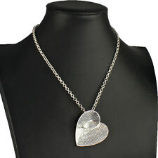 Textured silver plated large heart pendant choker belcher chain necklace
