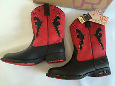 BNWT Little Boys Sz UK 13/US 1 Roper Red/Black Light Up Studded Western Boots