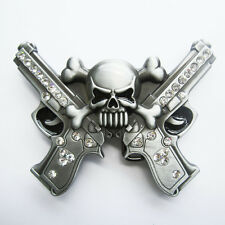 Skull with Rhinestone Guns Belt Buckle