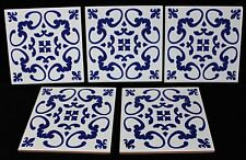 "Spanish Blue White Tile 6"" Ceramic Talavera Colonial Style Handpainted Set of 5"