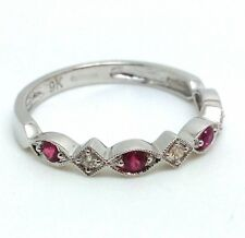 9ct White Gold Ruby & Diamond Half Eternity Ring, UK Size O, New, Actual One.