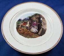 Antique 19thC KPM Porcelain Lady & Horse Scene Scenic Plate Porzellan Teller