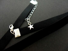 A LADIES GIRLS 10MM BLACK VELVET  CHOKER NECKLACE . NEW.
