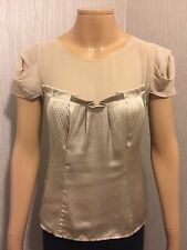 Karen Millen Golden Silk Cap Sleeve Top Size 10 Uk NEW