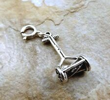 Sterling Silver Old Fashioned Push Mower Charm fits Charm Bracelets - 0884