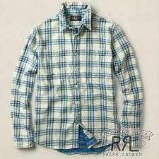 $250 RRL Ralph Lauren DOUBLE FACED CODY INDIGO DYED WORK SHIRT- MEN- M
