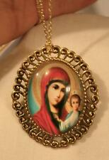 Swirled Rim Goldtone Starry Aura Red Madonna & Child Jesus Necklace Brooch Pin