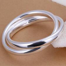 Ladies 67mm Large Round Bangle Bracelet 925Sterling Silver Jewellery LKNSPCB150
