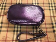Bobbi Brown Faux Leather Makeup Bag Wristlet - Metallic Purple - NEW!