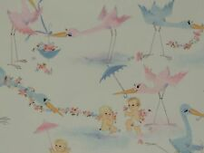 Vintage Hallmark Baby Shower Storks & Babies Flowers Wrapping Paper Gift Wrap