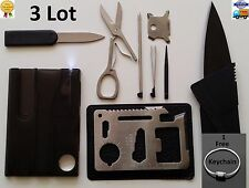 Credit Card Knives,11 in 1 Multi tools 3 Lot wallet thin pocket survival micro