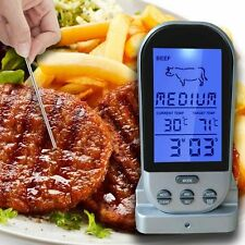 New Digital Remote Probe Wireless Meat Oven BBQ Thermometer Cooking Food Kitchen