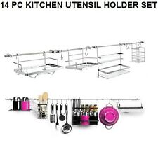 NEW CHROME 14 PC KITCHEN WALL MOUNTED UTENSIL HANGING RAIL RACK STORAGE SET