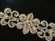 Rhinestone Crystal Silver Wedding Cake Brooch Bridal Belt Sash Decoration Br#22