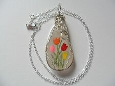 "Chunky tulip hand painted sea glass necklace - 18"" sterling silver plated chain"