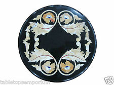 """12"""" Black Marble Rare Marquetry Foyer Table Coffee Top Mosaic Home Decor Art"""