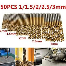 50pcs Hex Shank Titanium Drill Bit Set Wood Carpenter Masonry Hobby Tool 1-3mm