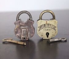 1910's Lot of Two Old Antique Beautiful Pot Shape ALIGARH Marked Brass Pad Locks