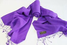"""H31D NWT Royal Purple Color Pashmina Silk Shawl/ Wrap 28"""" x 80"""" Made In Nepal"""