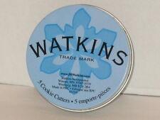 Vintage Watkins Snowflake Cookie Cutters Metal Nested Set of 5 in Original Tin