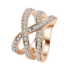18K REAL ROSE GOLD FILLED XX RING SIZE 8(Q) MADE WITH SWAROVSKI CRYSTALS