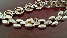 """Woman's Sterling Silver and Diamond Clasp Link Chain Bracelet Wrist Band 7.5"""""""
