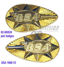 BSA A65 B25 C25 B44SS Metal Gas Tank Badge Emblem Set 82-9695 & 82-9696 1968-70