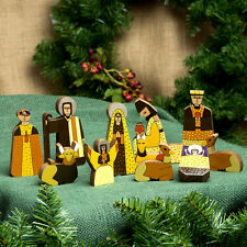 Nativity Christmas Set Unique Handcrafted World Artisan El Salvador Pinewood 11p