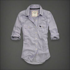 NWT Abercrombie Fitch Molly Classic Button Down Shirt Top Sz L Blue Pinstripe