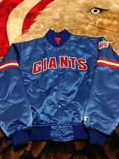 VTG 80s 90s Starter New York NY Giants NFL Satin Jacket XL Blue Jersey Throwback