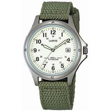 Lorus RXD425L8 Gents Hypoallergenic Titanium Canvas Green Military Strap Watch