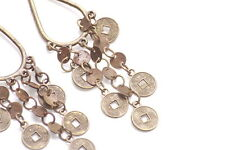 Rustic Bronze Droplet & Circle Star Charms Chinese Writing Earrings(Zx103)