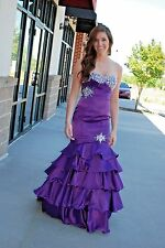 Tony Bowls purple strapless fitted Pageant Prom gown size 6