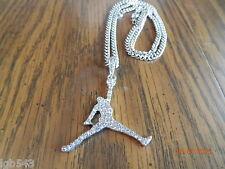 MIP- Air Jordan Jumpman Silver tone pendant w/ a matching 24inch 4mm cuban chain