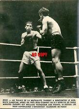 Photo de presse Boxe 1947 boxeur Germain Caboche Louis Thierry la Mutualité