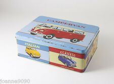 MARTIN WISCOMBE RETRO CAR TRANSPORT CAMPER VAN RETRO STORAGE TIN LUNCH BOX GIFT