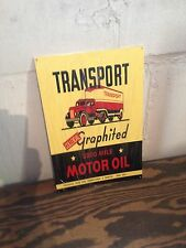 VINTAGE STYLE TRANSPORT THE 3000 MILE MOTOR OIL GARAGE MAN CAVE SIGN OLD SEMI TR