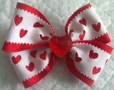 """Girls Hair Bow 4"""" Wide Hearts White Red Grosgrain Ribbon French Barrette"""