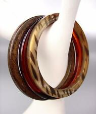 EXOTIC 3 PC Thin Faux Brown Zebra Wood Amber Acrylic Bangles Bracelet Set
