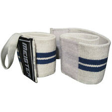 MEISTER WHITE WRIST WRAPS W/ THUMB LOOPS - Elastic Support Weight Lifting Straps