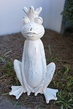 "Prince Frog 19"" High Garden Statue Resin Rustic Antique White Finish"