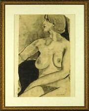 "Lucian Freud ""Nude"" Original charcoal on paper - hand-signed by artist"