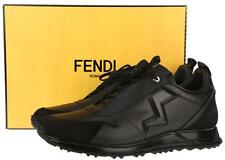NEW FENDI ZIG-ZAG RUNNER BLACK MATTE LEATHER SNEAKERS SHOES 5/US 6