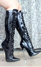 "7"" fetish 7 inch Spike Heel knee boot bondage BDSM high heel 7 Women 37 EU Lace"