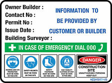 OWNER BUILDER SIGN - 300 X 225MM - POLY / THICK PLASTIC - CONSTRUCTION SITE SIGN