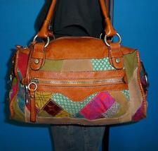 FOSSIL Multicolor PATCHWORK Leather Hobo Boho Satchel Slouch Tote Purse Bag 2628