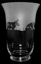 *HIPPO GIFT*  BOXED CRYSTAL GLASS VASE with HIPPO FRIEZE design (B81)