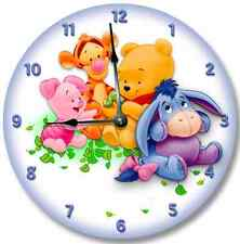 Baby POOH BEAR Wall clock Nursery Art Personalized Custom Room Decor_FT